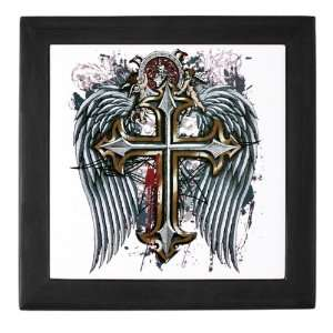 Keepsake Box Black Cross Angel Wings