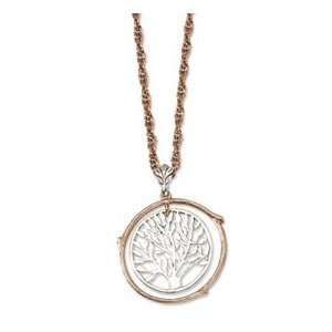 Copper tone and Silver tone Tree Pendant 26inch Necklace