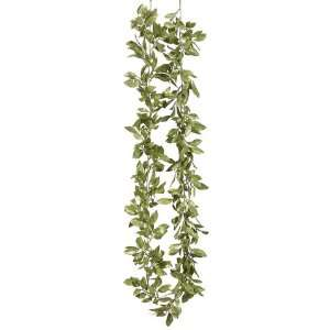 72 Glittered Mini Bay Leaf Garland Green (Pack of 6)
