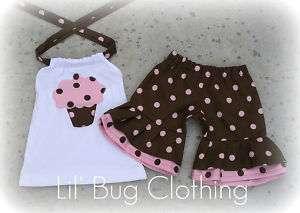 Custom Cupcake Polka Dot Cocoa Pink Short & Halter Girl