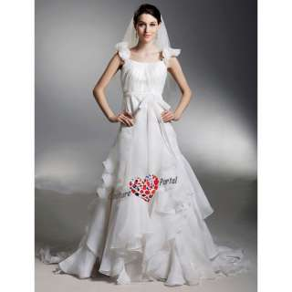 line Off shoulder Court Train Organza Wedding Dress