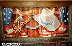 Western Cowboy Hat Horse Flag Boots Wood Tin Picture