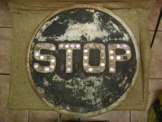 RARE Vintage Glass Marble STOP Sign  Antique Railroad