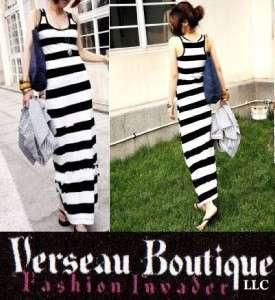 NEW Designer Inspired Black & White Striped Maxi Dress