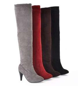 Womens Faux Suede Stretchy High Heel Knee Boots Fashion Shoes US All