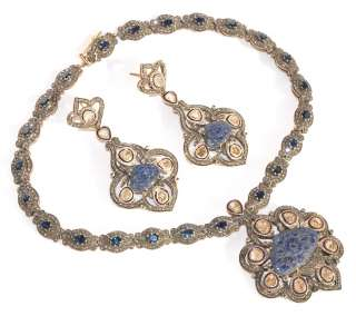 14KT CARVED BLUE SAPPHIRE VICTORIAN NECKLACE EARRINGS SET
