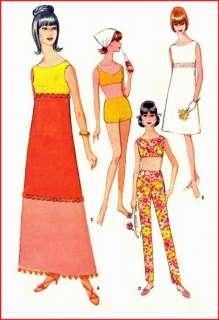1960s Bathing Swim Suit Bra Top Pants Empress Dress 14