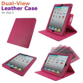 rooCASE Dual View Leather Folio Case Stand Cover for iPad 2