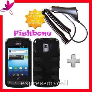 SK BLACK FISHBONE Impact Case Cover NET 10 Straight Talk LG OPTIMUS Q