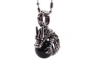 Black Onyx Dragon Stainless Steel Pendant + Chain SK56
