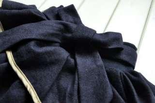 Boutique School Girl Navy Blue Tiered Woolen Skirt W/ Light Gold Satin