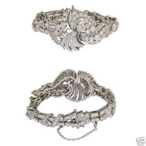 Estate Platinum Ladies Diamond Cluster Bracelet