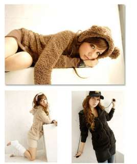 Korea Fashion Women Cute Bunny Rabbit Fluff with Ear Hoodie Fleece