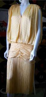 Blouson Flapper Fringe Coffin Draped Dropped Waist Dress Yellow