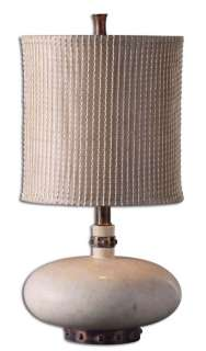 Stout Round White Base Tall Drum Shade Table Lamp