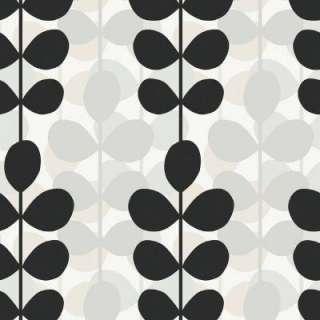 Black, White and Grey Modern Large Scale Leaf Stripe Wallpaper Sample