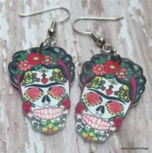 Frida Kahlo sugar skull day of dead Rockabilly tattoo earrings FREE