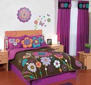 New Girls Purple Sweet Garden Flowers Comforter Sheets Bedding Set