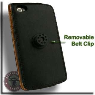 Flip Leather Case for Apple iPhone 4 G S 4G 4S Pouch A Black Belt Clip