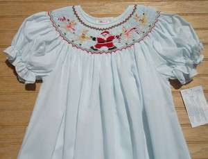 ROSALINA Lt. Blue Smocked Santa Reindeer Bishop Christmas Dress NEW