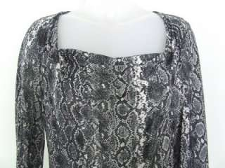 MICHAEL KORS Black & White Snakeskin Print Drape Neck Top ~ PM Petite