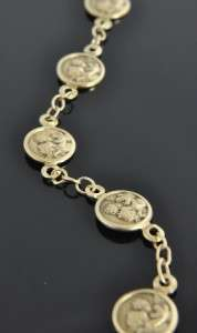 Estate 14K Yellow Gold Cherub Angel Medal Link Chain Bracelet