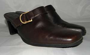 VILLAGER LARKIN CHOCOLATE BROWN LEATHER MULES W/2.5 HEELS; SIZE 8