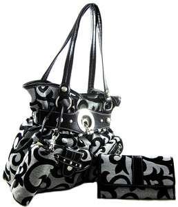 Designer Inspired Jacquard Fabric Belted Purse Handbag Wallet 3 piece