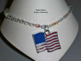 Crystal AB American Flag Charm Anklet Ankle Bracelet