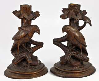 Antique Hand Carved Wood Black Forest Candlestick Pair, Animalier