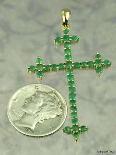 PREVIOUSLY OWNED 10K YELLOW GOLD & EMERALD CROSS PENDANT