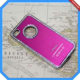 Pink Gold Bling Rhinestone Diamond Metal Cover Case For iPhone 4 4S 4G