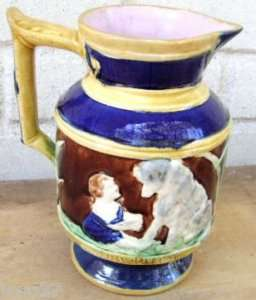 & Adorable Majolica Pitcher Girl, Dog, Verse: Say Please
