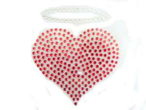 RED HEART CLEAR HALO CRYSTAL BLING IRON ON HOT FIX TRANSFER