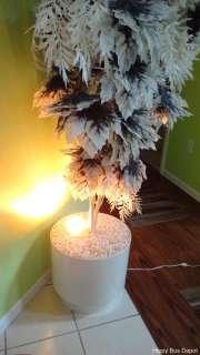 Mid Century White Black Fern Leaf Plastic Tree Floor Light Lamp