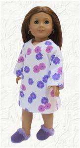 Doll Clothes Nightgown Sleep Shirt Purple Flowers fits American Girl