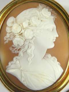 SUPERB ANTIQUE 15K GOLD CARVED NATURAL SHELL CAMEO PIN BROOCH FLORA