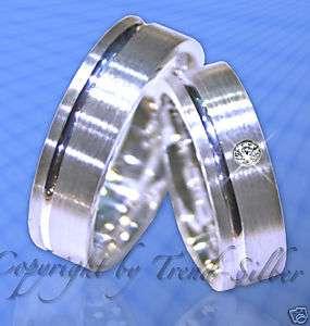 Silber Trauringe Eheringe m. stein Gravur Gratis J2 1
