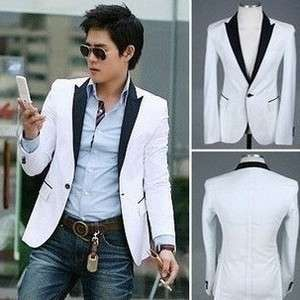 Mens slim white cotton short business suit coat