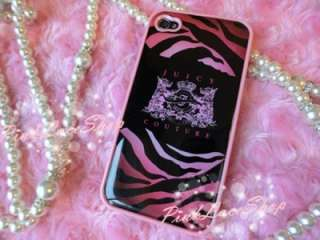 Pink Zebra Print Juicy Couture Designer Case for iPhone 4G, 4GS