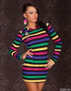 Hooded Multi coloured long top/mini dress UK 10/12 EU 38/40