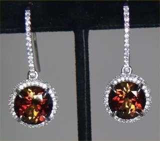 Estate 12.90 ct Natural Bi Color VVS Tourmaline Diamond Earrings 14k