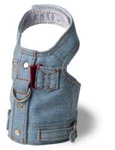 Doggles Blue Denim Jean Jacket Vest Dog Harness SM