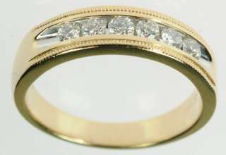 MENS 14K YELLOW GOLD DIAMOND WEDDING ESTATE RING 172137
