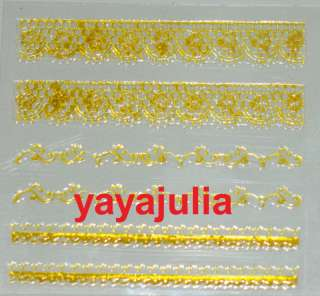 Nail Art Stickers Gold French Straight Decals G