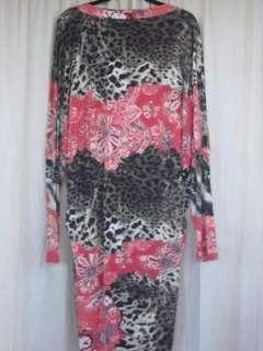 CAVALLI pink floral print & leapoard print knit dolman sleeve dress XL