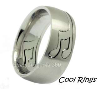 Musical Note Puzzle Ring Band Music 316L Surgical Stainless Steel