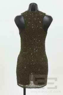 Alice & Olivia Olive Green Silk Sequin Racerback Dress Size XS NEW
