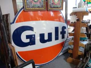 VINTAGE 1960s RARE GULF PORCELAIN 6 Bow Tie GAS STATION SIGN OIL
