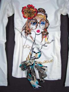 New Moschino Womens 3D Bow cute girl Shirt Sz.40 44 White